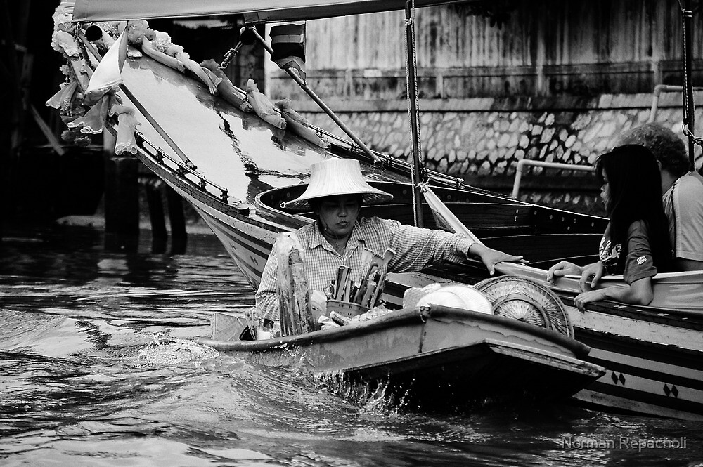 Shopping on the Klong - Bangkok, Thailand by Norman Repacholi