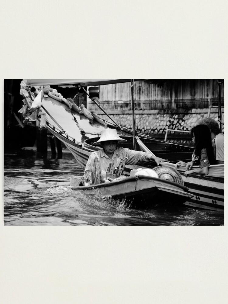 Alternate view of Shopping on the Klong - Bangkok, Thailand Photographic Print