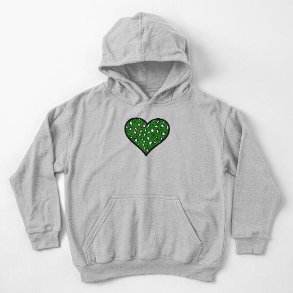 Dark Green, Black and White Leopard Print Heart Kids Pullover Hoodie
