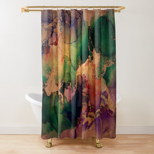Marbled Texture in Purple, Green and Gold Shower Curtain