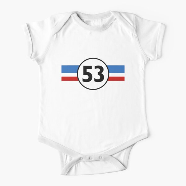 Herbie 53 Classic Racing Car 1963 Circle Logo #1 Short Sleeve Baby One-Piece