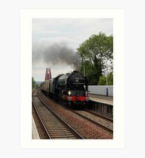 Steam train on Forth Rail Bridge Art Print