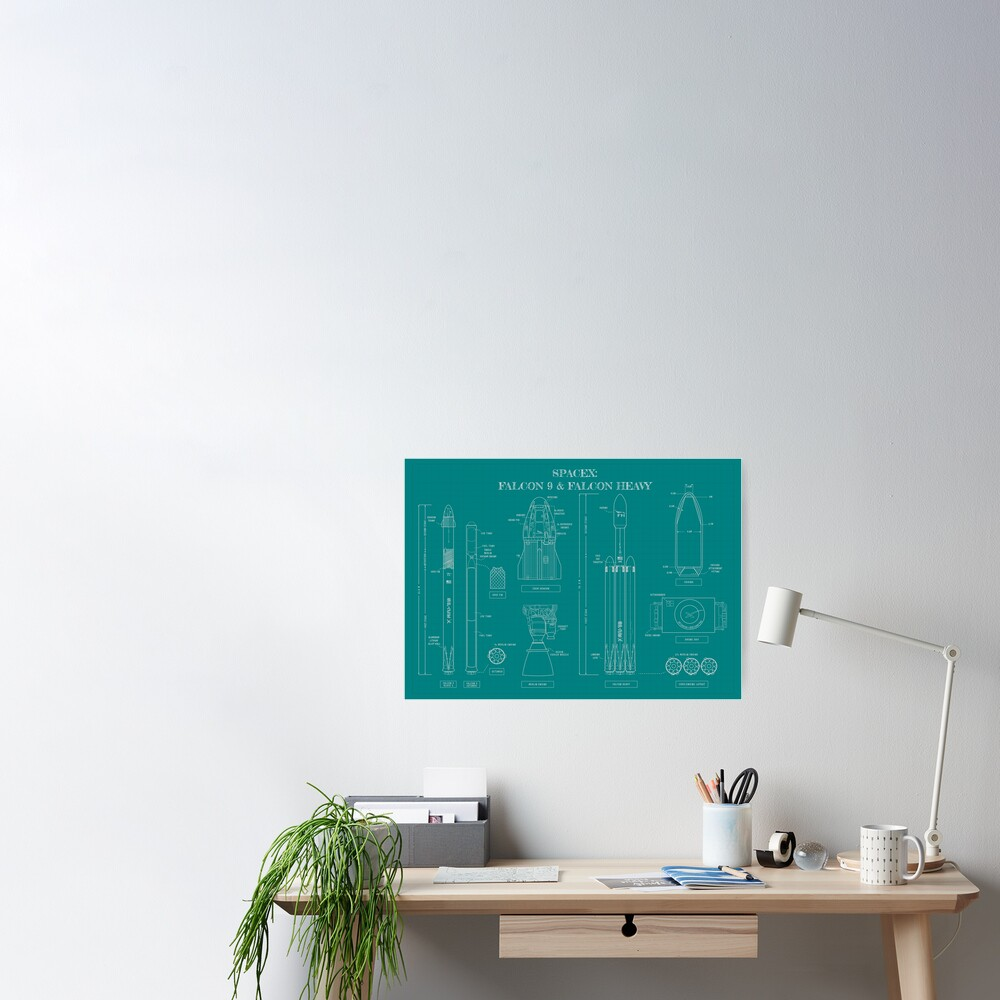 SPACEX: Falcon 9 & Falcon Heavy Blueprint (Teal Version) Poster