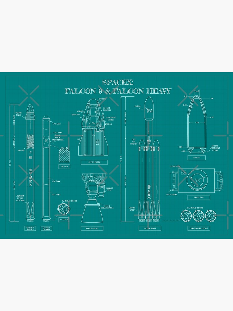 SPACEX: Falcon 9 & Falcon Heavy Blueprint (Teal Version) by BGALAXY