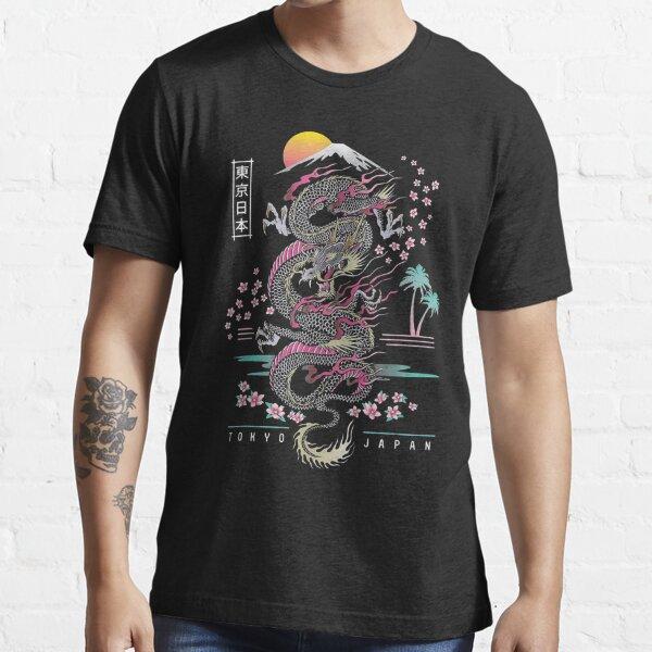 Japanese Dragon Asian Neon retro 80s style Essential T-Shirt