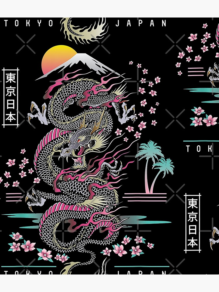 Japanese Dragon Asian Neon retro 80s style by moonchildworld