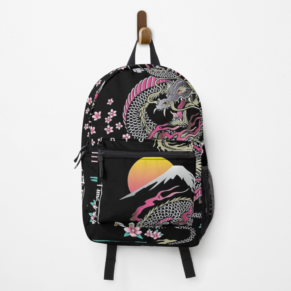 Japanese Dragon Asian Neon retro 80s style Backpack