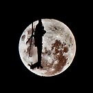 Military Helicopter Against Full Moon by pjwuebker