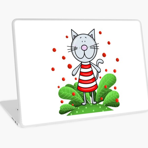 Cat and red bubbles Laptop Skin