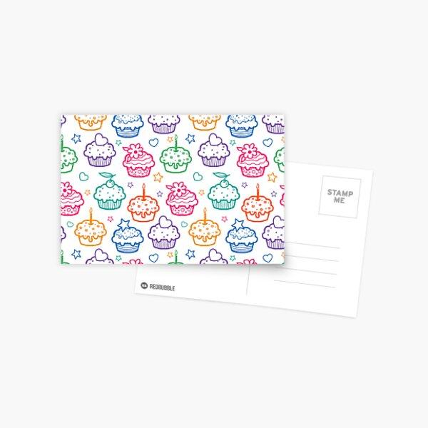 Colorful doodle cupcakes pattern Postcard