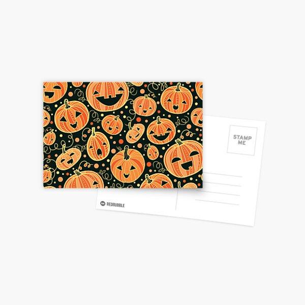 Fun Halloween pumpkins pattern Postcard