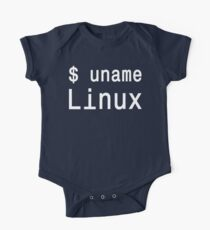 uname Linux - The only true answer - White on Black Design One Piece - Short Sleeve