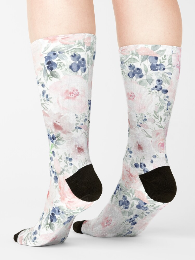 Alternate view of Blueberries and Roses  Socks