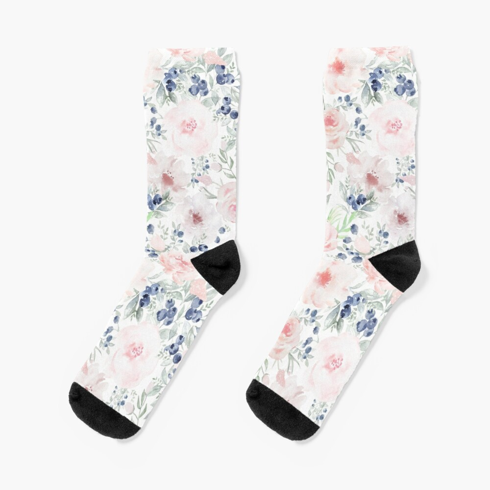 Blueberries and Roses  Socks