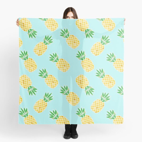 Pineapple Art with yellow and blue for Foodie Scarf