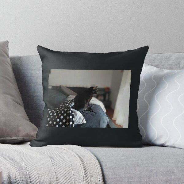 Bruja, the Magical Black Cat Throw Pillow