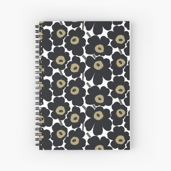 Marimekko black Floral Print Spiral Notebook