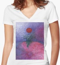 Space Tree Women's Fitted V-Neck T-Shirt