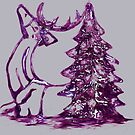 Christmas Reindeer and Tree by Dawn B Davies-McIninch