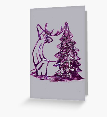 Christmas Reindeer and Tree Greeting Card
