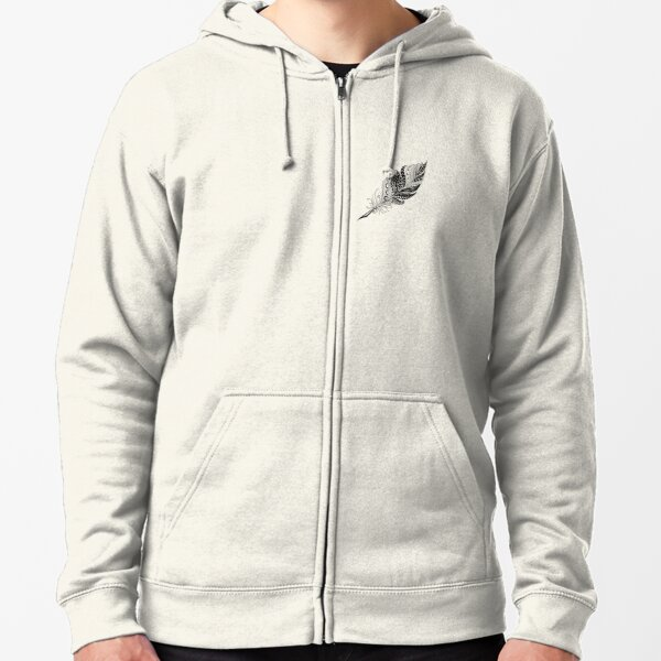 Black Feather Zipped Hoodie