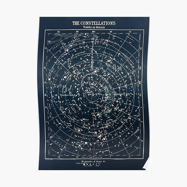 Vintage STAR CONSTELLATIONS MAP POSTER circa 1900s  Poster
