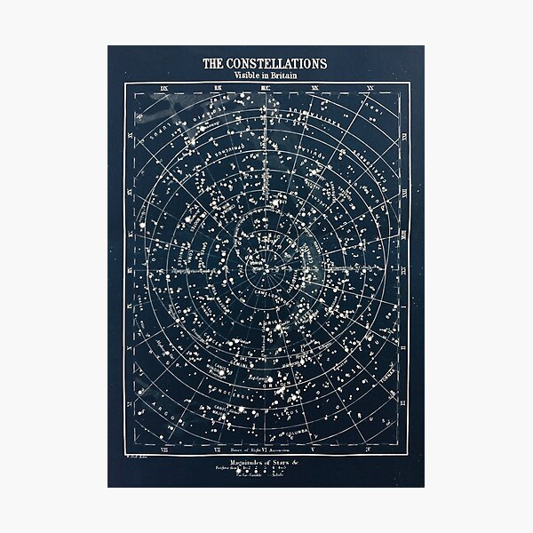 Vintage STAR CONSTELLATIONS MAP POSTER circa 1900s  Photographic Print