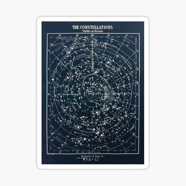 Vintage STAR CONSTELLATIONS MAP POSTER circa 1900s  Sticker