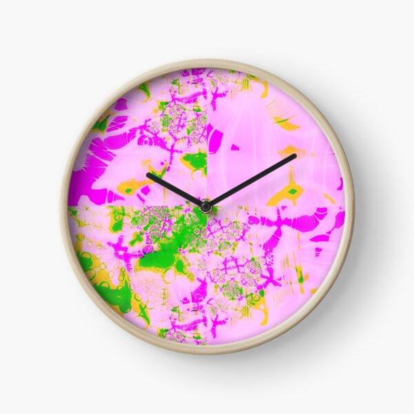 Fractal - psychedelic pastel watercolour Clock