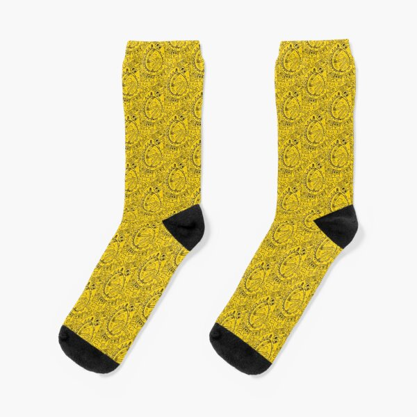 Busy Drawing #1 - Cyber Yellow Background Socks