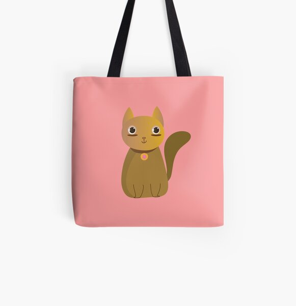 Cute Kawaii Cat Cartoon in Brown and Yellow with necklace All Over Print Tote Bag