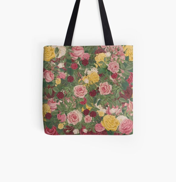 Rose Bouquet in Red, Yellow, Pink and White All Over Print Tote Bag