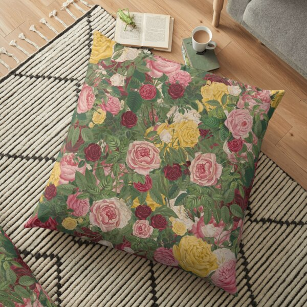 Rose Bouquet in Red, Yellow, Pink and White Floor Pillow