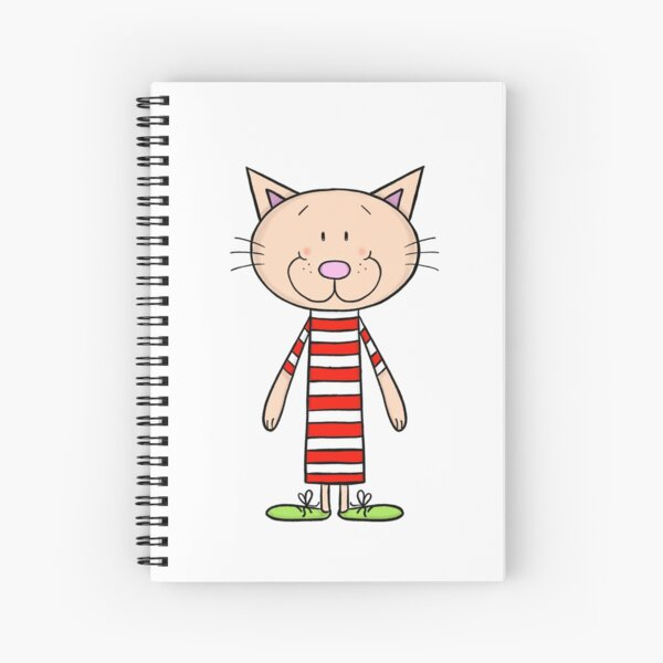 Long cat in stripped Tshirt Spiral Notebook