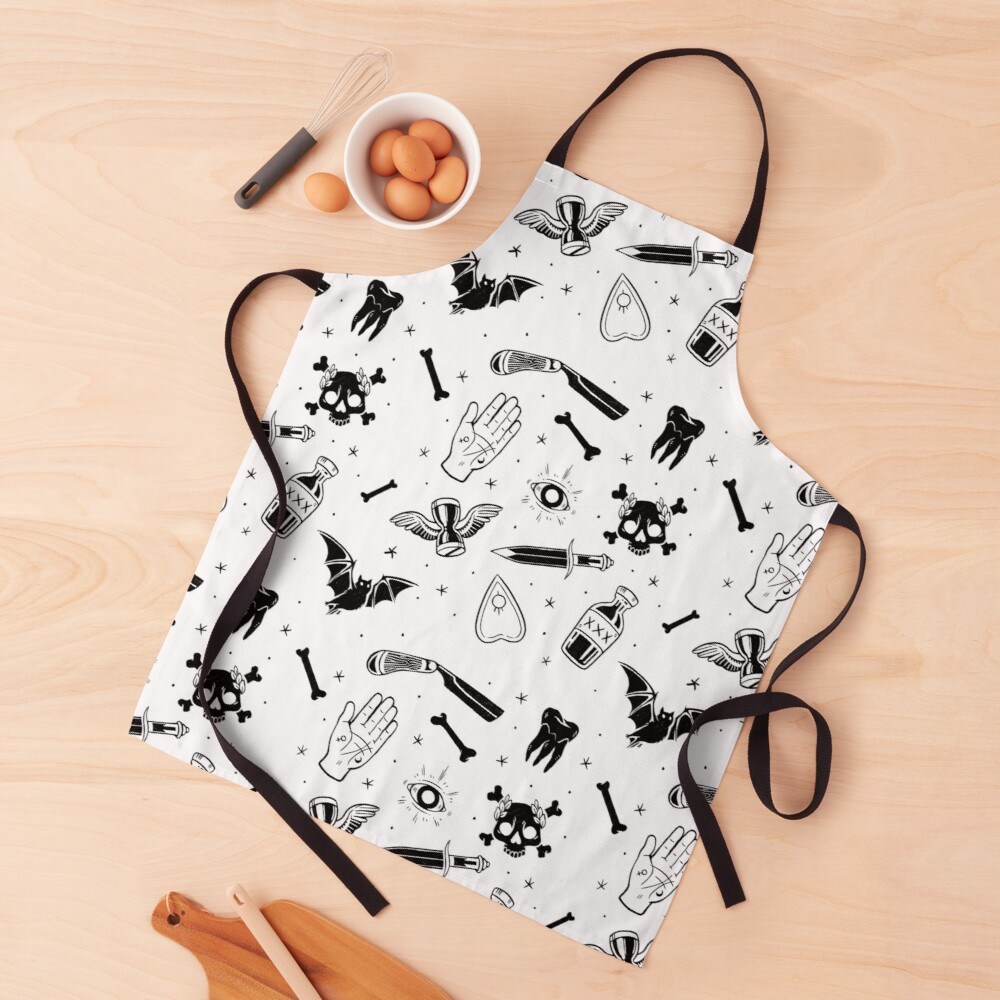 A Few of My Macabre Things (on white) Apron