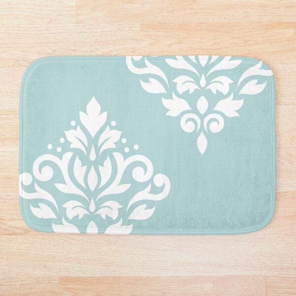 Scroll Damask Art I White on Duck Egg Blue Bath Mat