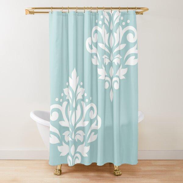 Scroll Damask Art I White on Duck Egg Blue Shower Curtain