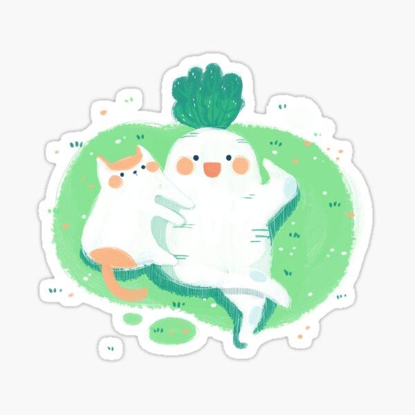 kitty and daikon Sticker