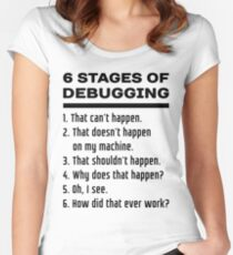 Six Stages of Debugging: Black Text Design for Programmers Women's Fitted Scoop T-Shirt