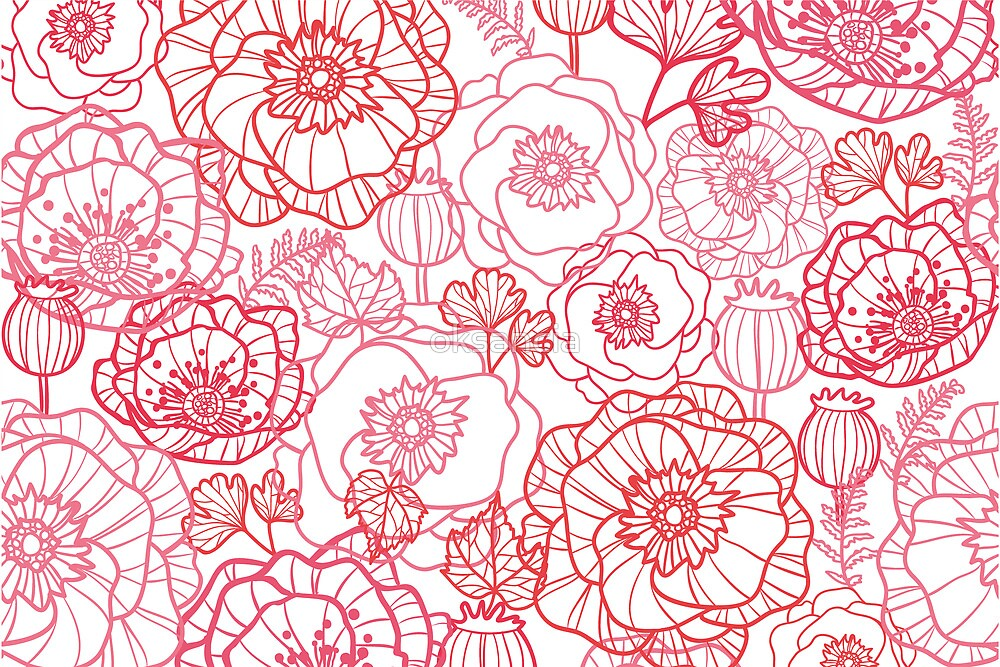 Poppies line art pattern by oksancia