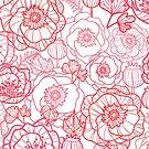 Poppies line art pattern by oksancia