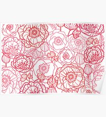 Poppies line art pattern Poster