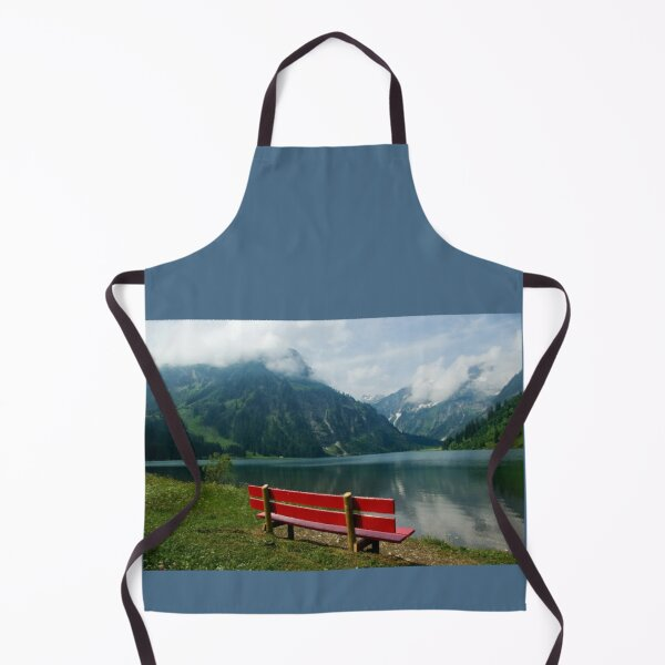 Red bench with a view Apron