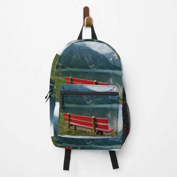 Red bench with a view Backpack