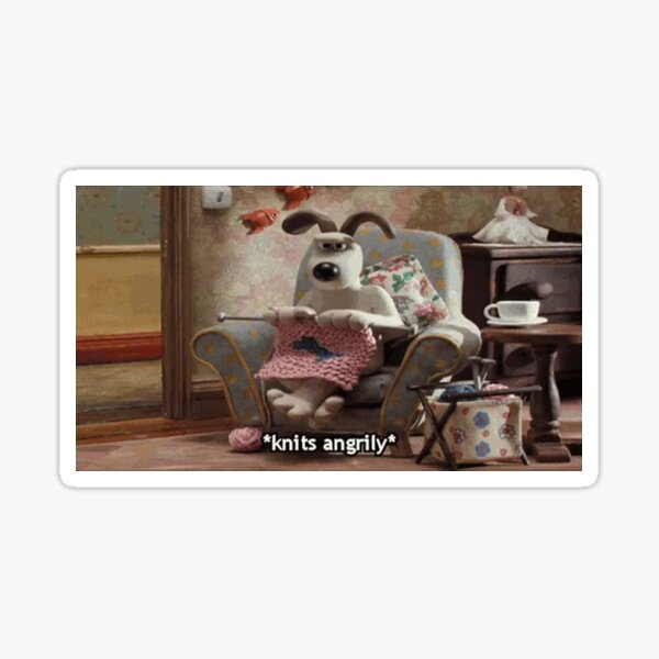Wallace and Gromit, Gromit knitting angrily Sticker