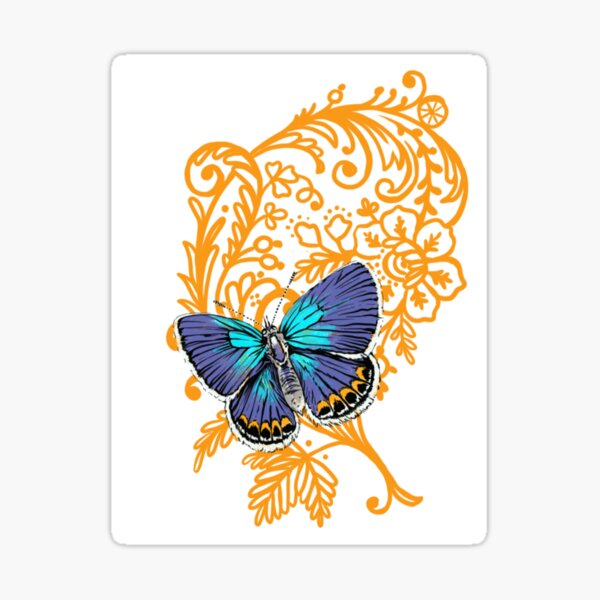 Karner blue butterfly and lace Sticker