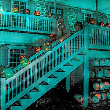 Jack-O-Lanterns Line the Rails of the Van Cortlandt Manor by amberwayne52