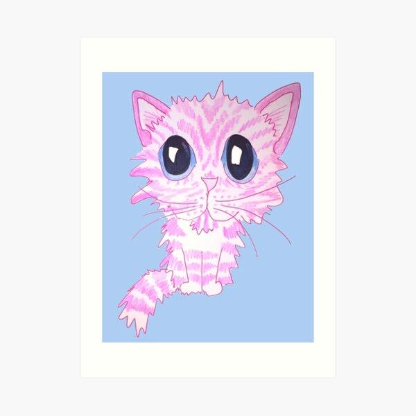 Pink Wide Eyes Tabby Cat Art Print