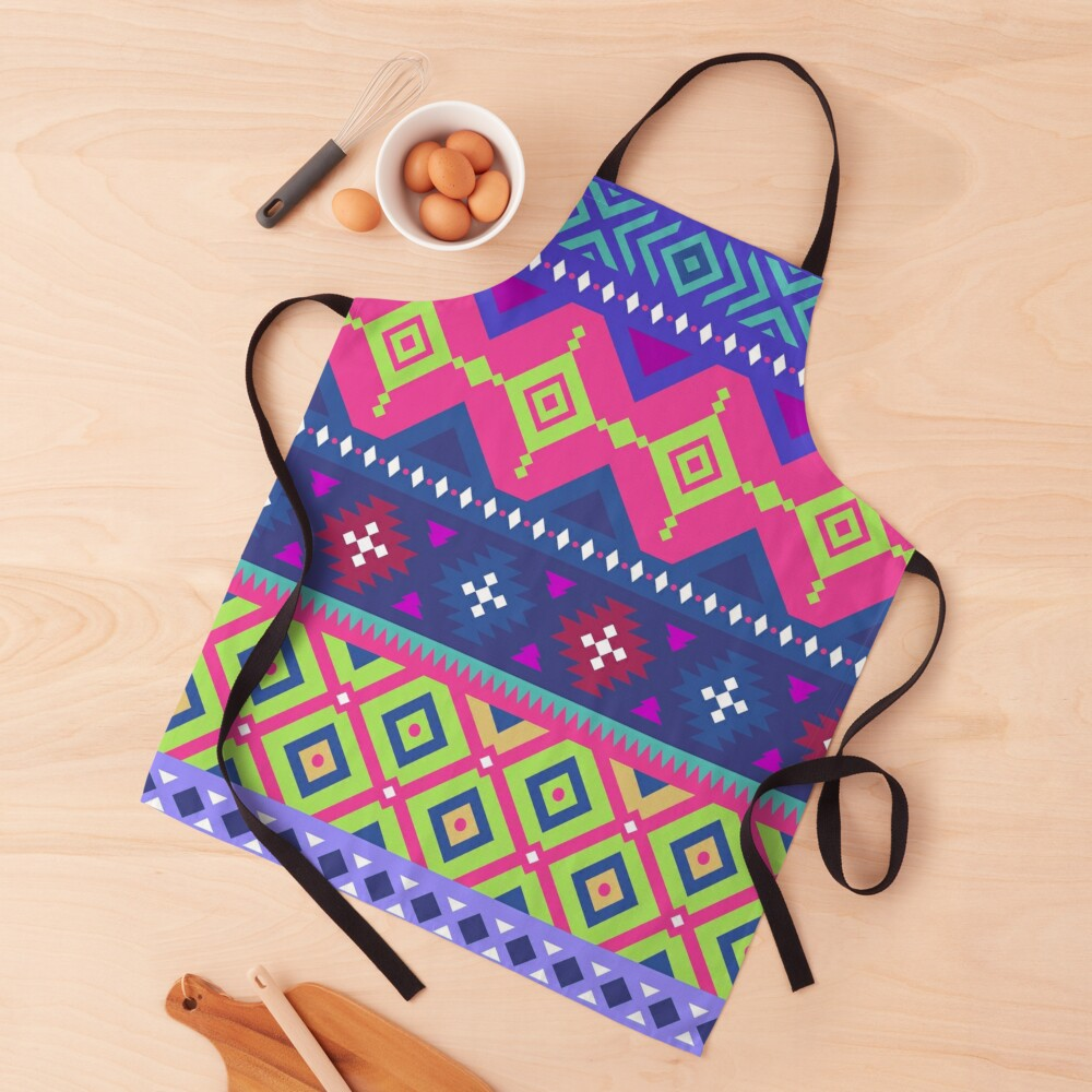 Fun Happy and Energetic Colorful Patchwork Stripe Pattern Apron