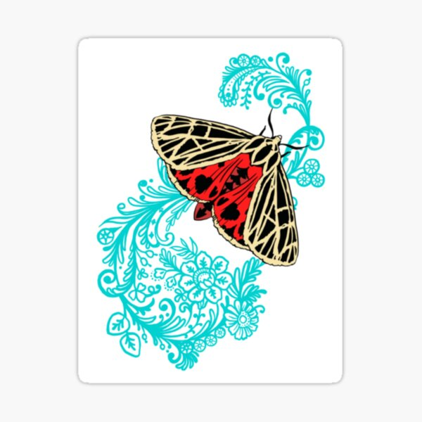Harnessed tiger moth on lace  Sticker